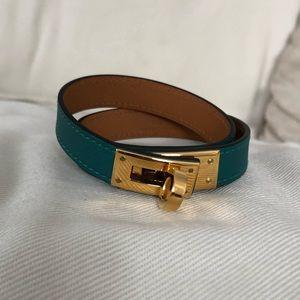New Hermès green kelly double tour bracelet